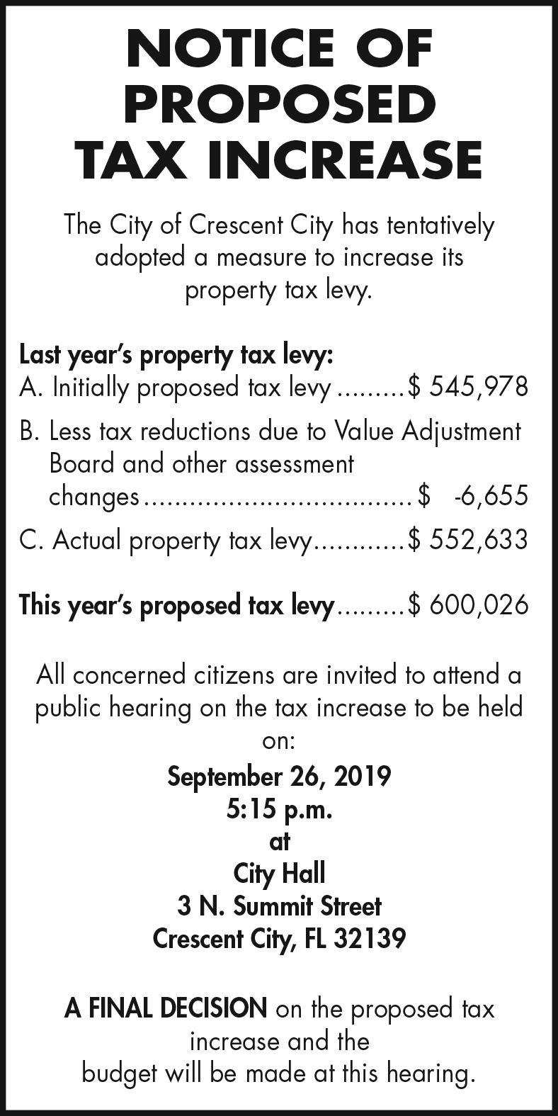 City of Crescent City Budget Hearing