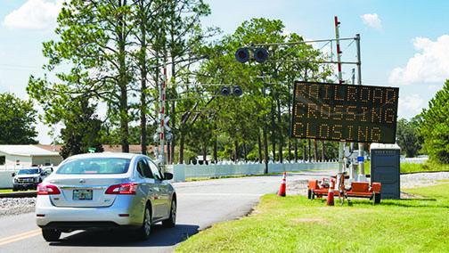 A sign notifies Satsuma residents of a closure in September.
