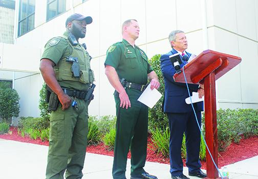School and law enforcement officials hold a press conference Tuesday.