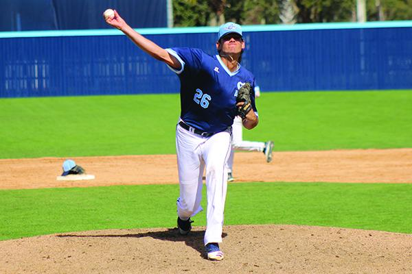 St. Johns River State College pitcher Franco Aleman delivers a pitch during Sunday's game against East Georgia. (ANDY HALL / Palatka Daily News)