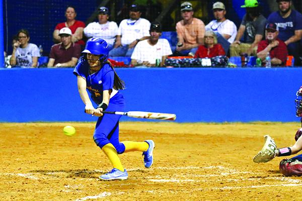 Palatka High's Jaden Musgrove shortens up on a running swing against Pierson Taylor. Musgrove delivered two hits in the Panthers' 2-0 loss to Pierson Taylor. (GREG OYSTER / Special To The Daily News)