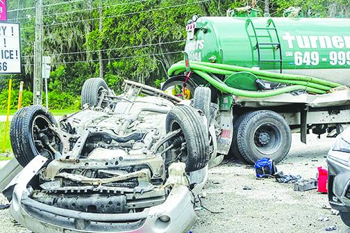 Richard Reiter's car meets a smelly end after a high-speed chase Friday results in a collision with a septic truck.