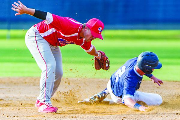 St. Johns River State College's Chase Malloy slides safely into second base during a game in 2019 against the College of Central Florida. (Daily News file photo)