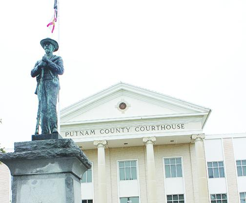 The Confederate monument outside the Putnam County Courthouse