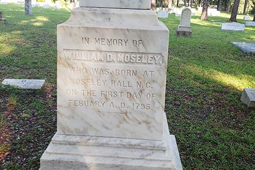 A monument in West View Cemetery for William Moseley, Florida's first elected governor.