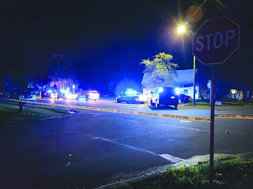 The Palatka Police Department responds to the scene of a shooting last month near the intersection of Ninth and Main streets.