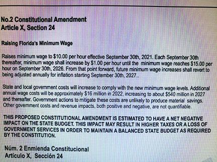 Amendment regarding minimum wage.