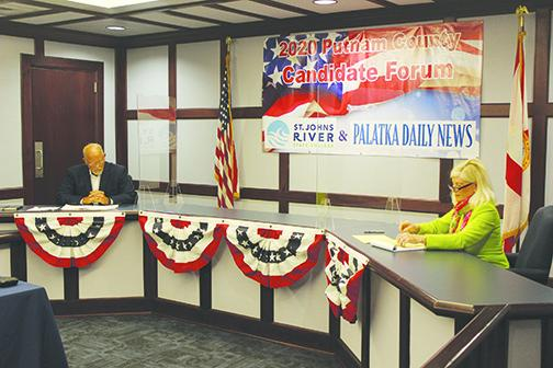 District 19 state House winner Bobby Payne and challenger Kim Dugger participate in a forum last month.