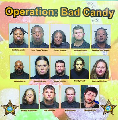 The Putnam County Sheriff's Office arrested nine suspects on drug charges Friday night as part of Operation Bad Candy.