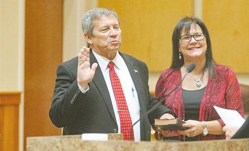 School Superintendent Rick Surrency is sworn in Tuesday at the Putnam County Government Complex.