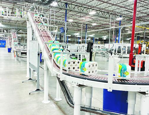 Bathroom paper, a coveted item in 2020, rolls through the Georgia-Pacific factory in Palatka. The business hasn't had to make cuts because of COVID-19. Instead, it is looking to expand this year.