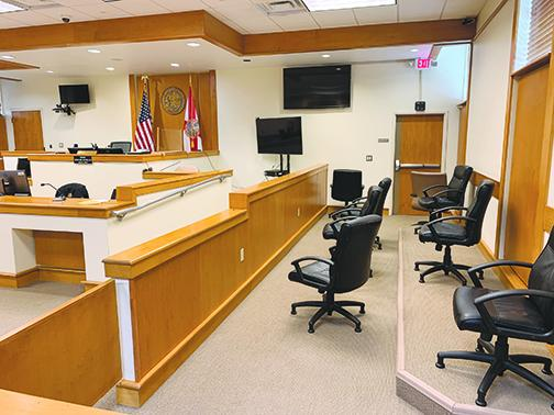 A courtroom at the Putnam County Courthouse sits empty in 2020, but jury trials could resume as early as Monday.