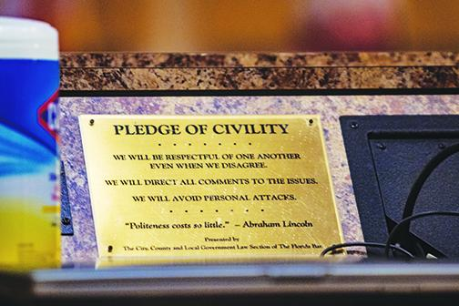 The pledge of civility in the Putnam County Board of Commissioners meeting room reminds residents to act with kindness as they speak during meetings.