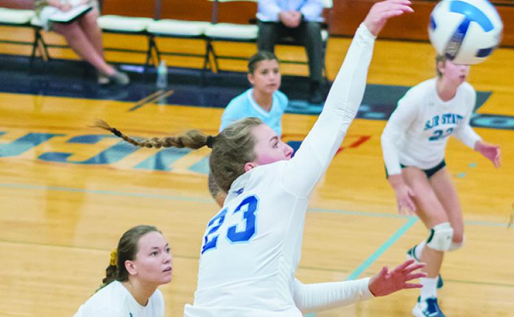 Shown putting down a kill attempt against Lake-Sumter last Wednesday during a straight-set sweep at Tuten Gymnasium, St. Johns River State College's Louisa Marunde had 34 kills during the Vikings' 3-1 road trip in New Rochelle, N.Y., this weekend. (FRAN RUCHALSKI / Palatka Daily News)