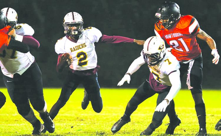 Two-time county player of the year Naykee Scott led Crescent City High School's football team to a 2018 state tournament victory over Fort Meade before losing to Hawthorne in the regional semifinal. (GREG OYSTER / Special To The Daily News)