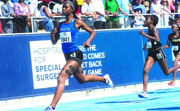 Ka'Tia Symour wins the 200-meter dash at the 2016 class 2A track and field championships in Bradenton. (File photo)