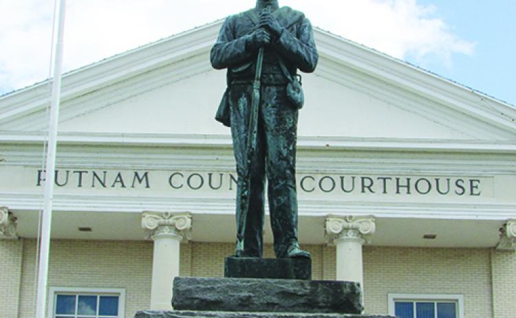 The Confederate monument outside the Putnam County Courthouse in Palatka