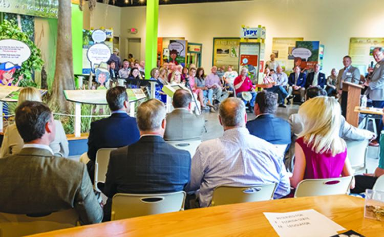 Local residents as well as state legislators and employees participate in a water forum last year in the St. Johns River Center in Palatka.