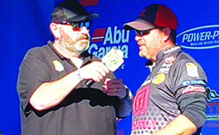 Palatka's Cliff Prince is interviewed shortly after he took fourth place in February's Bassmaster Elite Series along the St. Johns River. (WAYNE SMITH / Palatka Daily News)