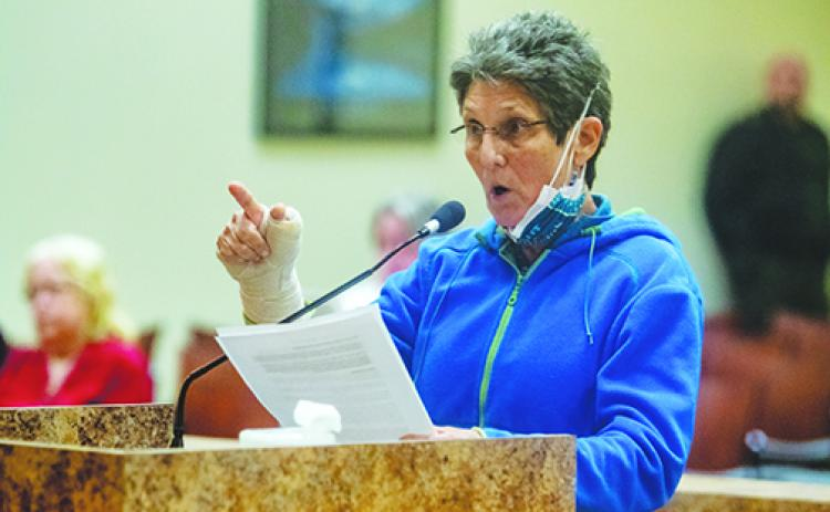 Dr. Julie Thaler tells the board Tuesday about the expletives she heard lobbed at her during a protest Saturday by people who were in favor of keeping the Confederate monument at the courthouse.