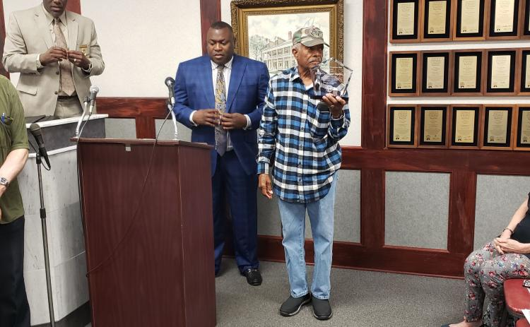 Granvel Hopkins is recognized with a Palatka Pride Hometown Hero award by the Palatka City Commission in February 2020.