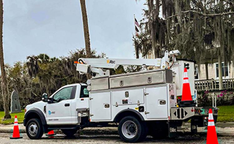 An AT&T truck parks on St. Johns Avenue in Palatka on Thursday as power outages in the area continue despite AT&T representatives saying no reports have been shown on the company outage map.